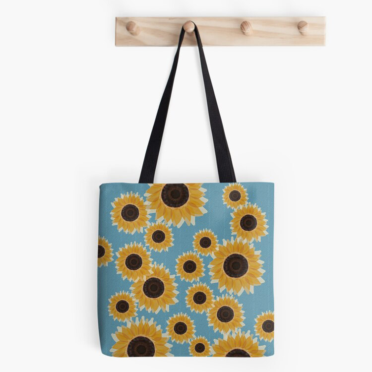 sunflowers and blue honeycomb Summer tote bag